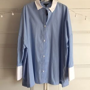 BRAND NEW Topshop Oversized Blue Button-Up size 8